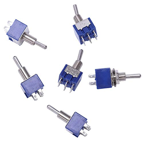 Katigan 6 piezas Interruptor de palanca de 3 vias On-Off-on 6 pin es 6A 125VAC