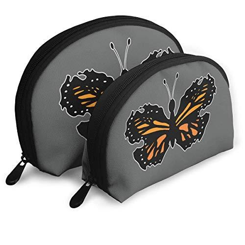Juego de 2 Bolsas de cosméticos, diseño de monarca y Mariposa, Bolsa de Almacenamiento portátil