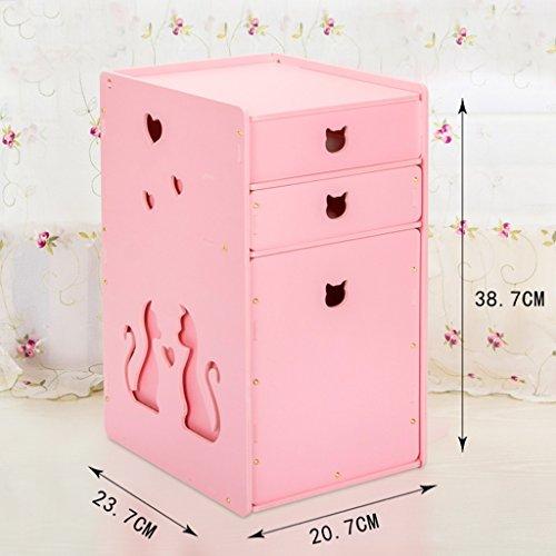 Toilettes étanches Boîte de rangement cosmétiques Boîte de rangement Housse de protection anti-poussière en forme de L Tiroir en L (couleur : Rose)