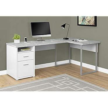 Monarch I 7258 L Shaped Corner Computer Desk in White and Gray Cement