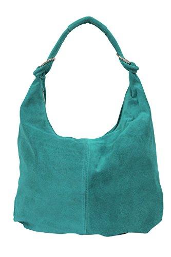 AMBRA Moda Damen Wildleder Schultertasch Damen Handtasche Hobo-Bags Shopper Beuteltaschen Veloursleder Suede Ledertasche DIN-A4 42cm x 35cmx 4cm WL803 (Türkis)