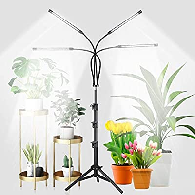 GHodec 4-Head Grow Light with Stand, 80 LED 5500K Full Spectrum Floor Plant Light for Indoor Plants,5 Dimmable Levels & Auto On/Off Timer,Tripod Stand Adjustable 15-48 in
