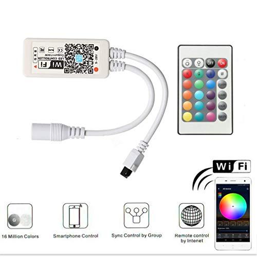 Wlan RGB Led Streifen Controller,Wifi/App gesteuert Arbeiten mit Android/IOS 5V-28V 16 Millionen Farben,20 Dynamische Modi,Sound Aktiviert, Statische Farbwechsel,24 Tasten Fernbedienung