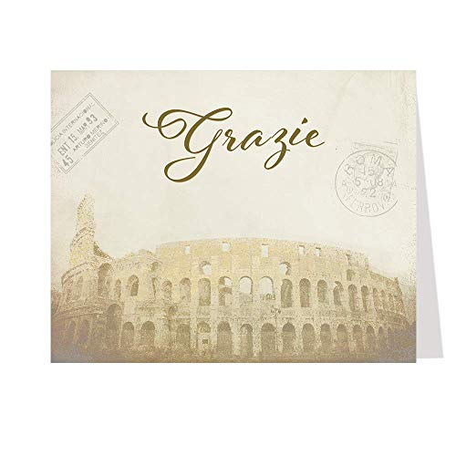 Bridal Shower, Thank You Cards, Italy, Chocolate, Italian Theme, Wedding Shower, Vintage, Passport, Rome, Coliseum, Honeymoon, Set of 50 Printed Folding Notes with Envelopes, Thats Amore,