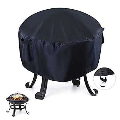 Onlyme Fire Pit Cover Round - Waterproof Fire Bowl Cover for Outdoor Patio, Anti-UV, Windproof - Black (22(D) x 22(H) inch) by Onlyme