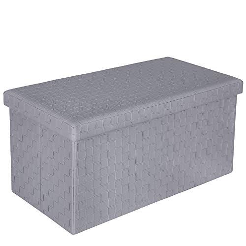 Bonlife Caja Arcones Almacenaje Plegable y Fácil de Montar Banco Madera Otomano de Almacenamiento Caja con Tapa Baules para Juguetes Gris 76.5x38x38cm