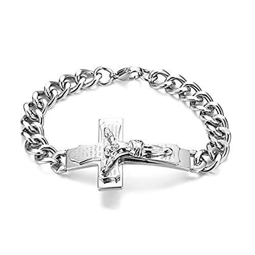JewelryWe - Pulsera para hombre con colgante de cruz y cruz de Jesús en acero inoxidable, color plateado y dorado plateado