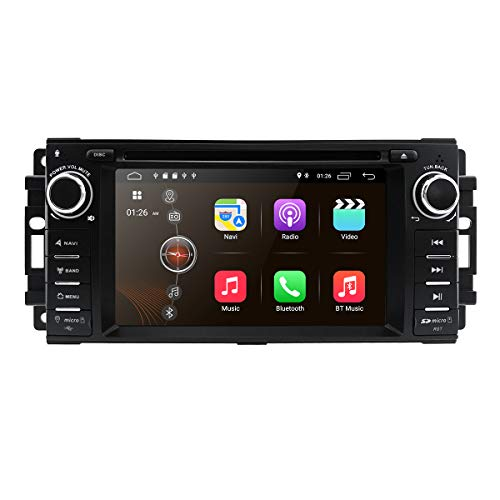 hizpo Android 10 OS 6,2 Zoll 1 Din Auto Navigation DVD-Player Radio Stereo Fit für Jeep Wrangler Chevrolet Dodge Chrysler mit Mirrorlink Bluetooth WiFi 4 G RDS OBD2 DVR DAB + TPMS