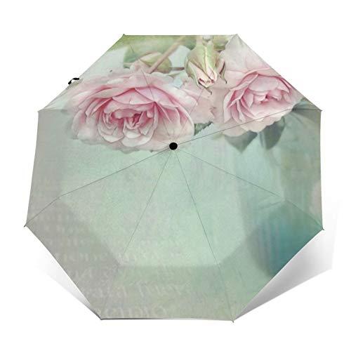 Romántico cojín en la actualidad Shabby Styles paraguas paraguas plegable resistente al agua paraguas plegable paraguas plegable automático tres veces peso ligero compacto viaje paraguas