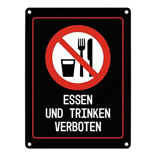 trendaffe - Essen und Trinken verboten Warn- und Hinweisschild in Schwarz mit Piktogramm