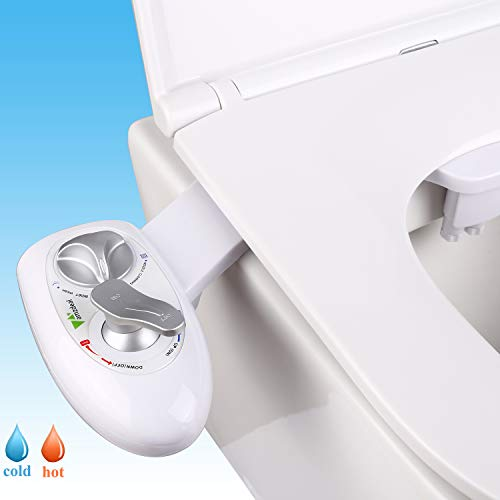 amzdeal Hot Bidet Dual Self Cleaning Nozzles(Posterior/Feminine Wash) Bidet for Toilet Hot & Cold Water Bidet Attachment Changeable Water Pressure Non-electric Spray Bidet Easy Installation Updated