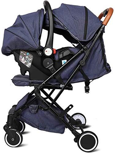 Landaus Légère Poussette Siège de bébé Portable Pram Transport adjustble Oversize Capot Dossier Tout-Petit bébé Chariot à Bagages Poignée de Transport Fournitures pour bébé ( Color : Gray )