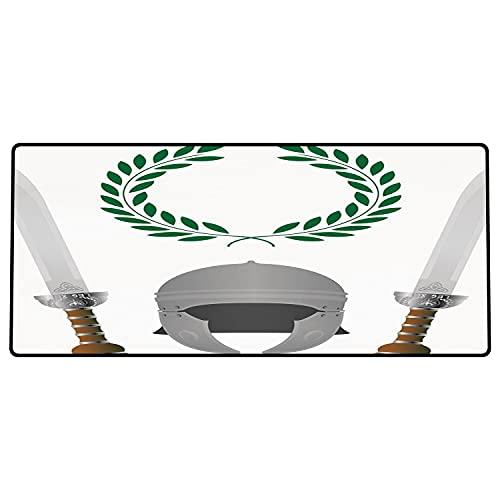Alfombrilla de ratón para Juegos 600 x 300x3 mm,Toga Party, Roman Glory Heritage Knight Cuarta Variante Escudo Leyenda Ilustración Decorativa, Gr Base de Goma Antideslizante, Adecuada para Jugadores