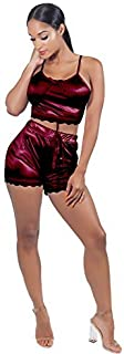 مجموعة ملابس نوم نسائية من VWIWV بدون أكمام من الدانتيل وشورت قصير