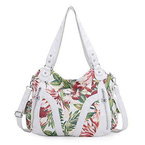 (2018 Upgrade) Angel Kiss Women Top Handle Satchel Handbags Shoulder Bag Messenger Tote Washed Leather Purses Bag (White-Flower) …