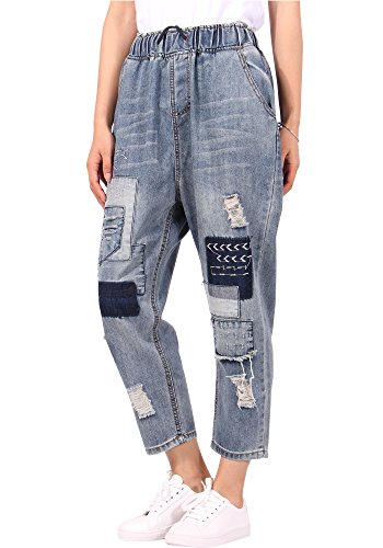 JeansForest Womens Cropped Patchwork Loose Fit Denim Panel Jeans,Blue,Small