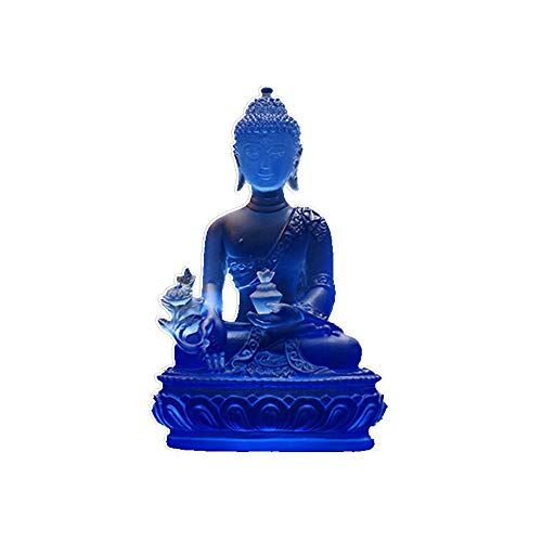 High - Grade Glass Buddha Statue Sculpture Diagram Gift Craft Buddha Statue Decoration Craft Home Office Decoration (Blue)