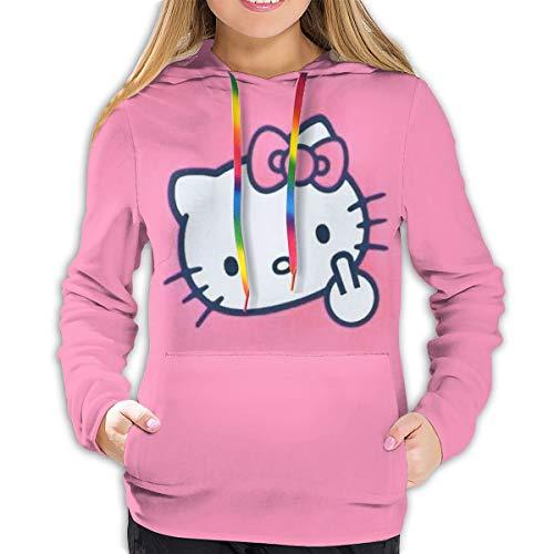 Hello Kitty Damen Hoodie mit Fronttasche Sweatshirts 3D Druck Kordelzug Pullover S-XXL Gr. 50, Schwarz