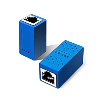 RJ45 Inline Coupler,RJ45 Coupler for Cat7/Cat6/Cat5e/cat5 Ethernet Cable Extender Connector - Female to Female Blue 2 Pack