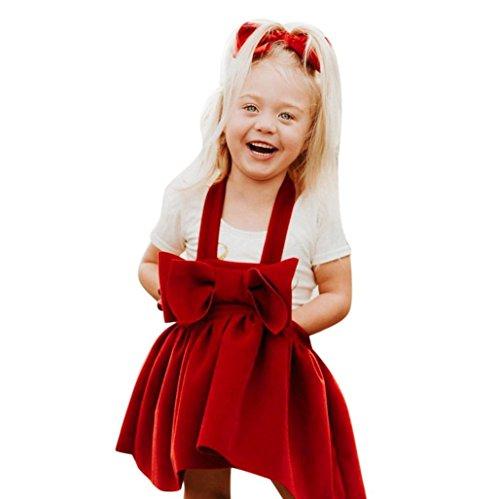 HOMEBABY Peuter Kinderen Baby Meisjes Party Prinses Jurk, Kinderen Kerstmis Strik Pageant Jurk Kerstman Kostuum Kerst Kleding Set voor 2-7 Jaar