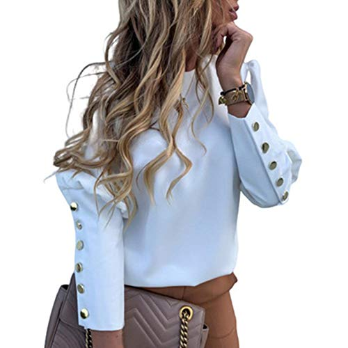 Top de mujer de manga larga, botones de metal, cuello redondo, suéter sin capucha, estampado de letras y blusa de mujer elegante, blanco, M