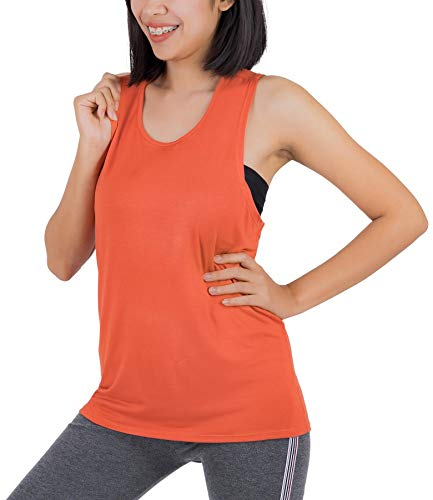 LOFBAZ Workout Tank Tops for Women Yoga Clothes Womens Athletic Shirts Gym Exercise Running Active Fitness Sports Clothing Tanks Top Orange XL