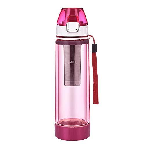 JIUJ Sports Water Bottle Thuis sport mannen en vrouwen studenten creatieve draagbare anti-drop handige thee dubbellaags glas
