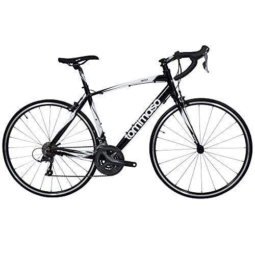 Tommaso Imola Endurance Aluminum Road Bike, Shimano Claris R2000, 24 Speeds - Black - Extra Small