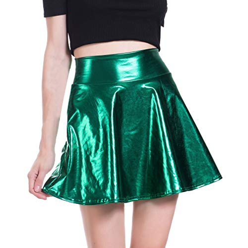 junkai Minifalda Brillante Mujer Look Cuero Sintético Líquido Mojado Metalizado Acampanado Plisado A-Line...