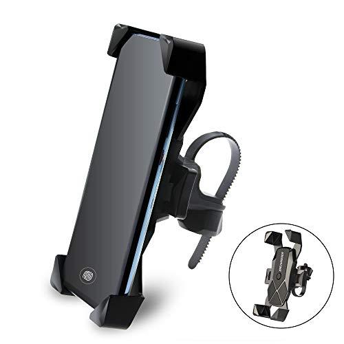 DreiWasser Handyhalterung Fahrrad Motorrad 360°verstellbar mit stoßfestem Vier-Ecke-Touch für Alle Handys/iPods/Navigationsgeräte zwischen 4,7-7,0 Zoll Schwarz