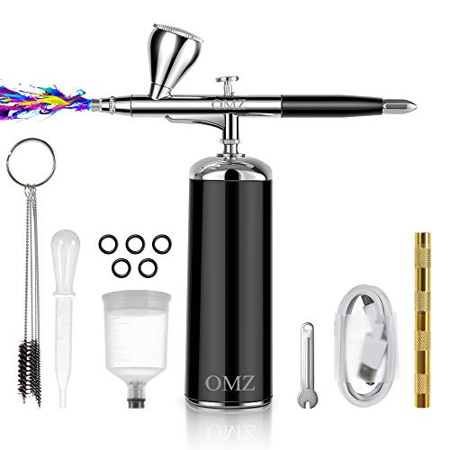 OMZ- Airbrush Kit with Air Compressor, 1800mAh Airbrush Gun Mini Double-Action Auto Airbrush Portable Cordless Gun Kit, USB Rechargeable.Suitable for Makeup (Black)