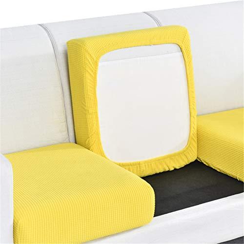 CENPENYA Funda de cojín elástica para sofá, funda de cojín de sofá, funda de cojín ajustable para sofá, funda de cojín de licra jacquard lavable a máquina (amarillo limón, 2 plazas más)