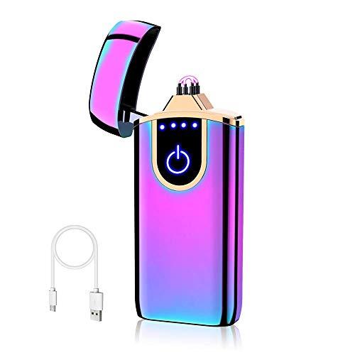 USB Elektronische Feuerzeug,KIPIDA Lichtbogen Feuerzeug,Touchscreen Elektro Feuerzeug LED Dual Lichtbogen ARC Feuerzeug mit Batterieanzeige Winddicht Plasma Feuerzeug für Männer Damen Geschenk