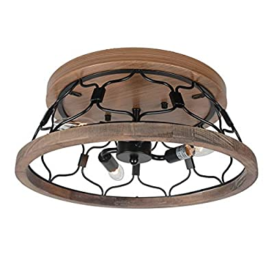 Beuhouz Round Farmhouse Flush Mount Ceiling Lighting, Metal and Wood Rustic Ceiling Light Fixture Industrial Black Wire Cage Close to Ceiling Light 3 Light Edison E12 8046