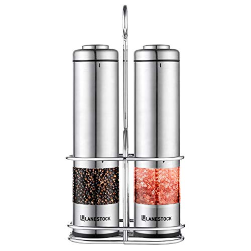 Electric Salt and pepper grinder by Lanestock - Combo set of battery operated stainless steel spice grinders with stand - LED light and adjustable knob on each mill - Powerful motor - long life-span