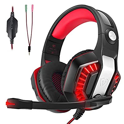 CHEREEKI Gaming Headset for XBOX ONE, PS4, Nintendo Switch, Desktop, Mobile, Tablet, Laptop, Wired Over-head Stereo Gaming Headphones with Mic Noise Cancellation Volume Control LED Lighting by CHEREEKI