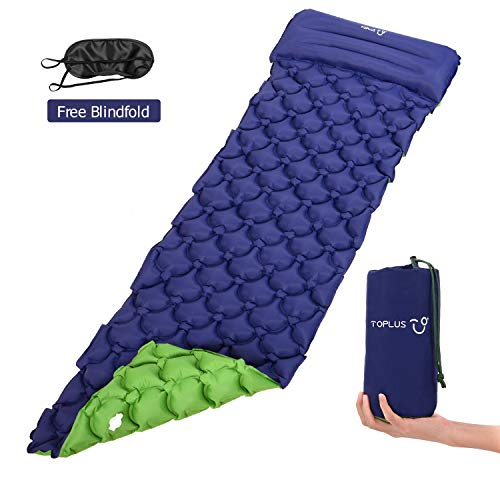 TOPLUS Camping Isomatte Luftmatratzen 190 * 59 * 6CM Unisexe Outdoormatte Aufblasbare Schlafmatte Luftbett Strandmatte mit Kissen und Augenmaske,Navy blau und grün