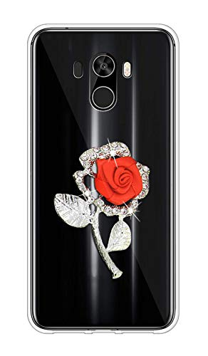 Sunrive Kompatibel mit Asus ZenFone 3 (ZE552KL) Hülle Silikon,Glitzer Diamant Strass Transparent Handyhülle Schutzhülle 3D Etui handycase Hülle (Rote Rose) MEHRWEG