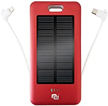 Portable Battery Charger 10000mAh Mobile Power Bank Solar Charger, Built-in Type-C, Micro USB Charging Cable Nucharger w. Solar Panel (Red, Solar)