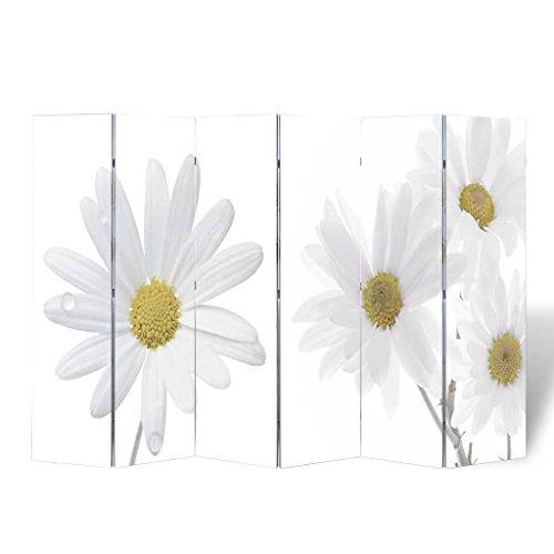 Tidyard Paravent Imperméable Fleurs Imprimées avec Look Moderne pour Salon/Chambre/Bureau/Terrasse 240 x 180 cm