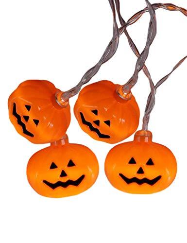 Bestgift Guirnalda de luces de Halloween, luces LED festivas para decoración al aire libre, calabaza de avión tangente (4,4 x 3,6 cm), 3 m, 20 luces, flash, blanco