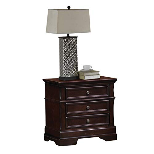 New Cherry-Finished Wood 3-Drawer Nightstand Red Traditional Cherry Finish Storage Area