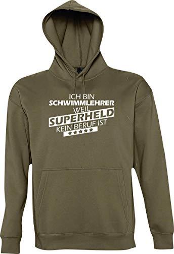 Shirtstown Kapuzen Sweatshirt, Ich Bin Schwimmlehrer, Weil Superheld kein Beruf ist, Sweatshirt Kapu Spruch Hooded Sprüche Logo Beruf Ausbildung, Farbe Army, M