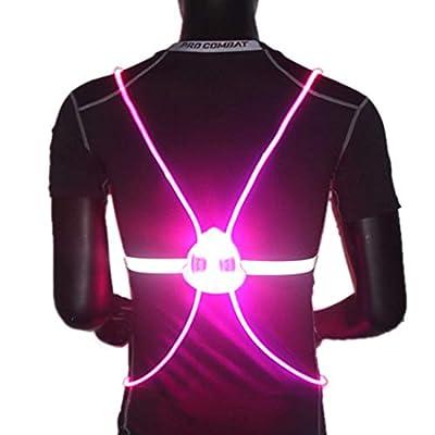Genbree LED Reflective Running Vest Visibility Safety Vest Multicolored Fiber Optics Safety Sport Vest Belt Night Running Reflective Gear for Night Running and Night Riding (Pink)