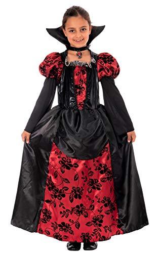Principessa Vampira - Costume Vampira Bambina Halloween inclusivo di Vestito da Vampira con Colletto - Travestimento Ragazza Halloween (10-12 Anni)