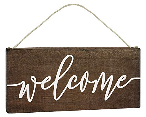 Elegante Schilder Welcome Schild – Eingangstür-Dekoration – Outdoor 6x12 rustikal hängend Holz Bauernhaus Veranda Dekoration für Zuhause