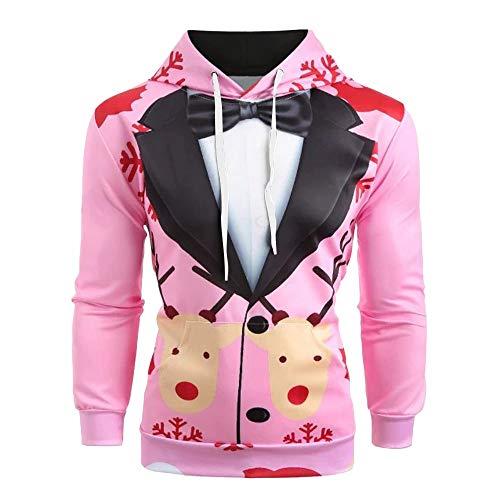 BOLANQ Weihnachtsbluse Männer Weihnachten Anzug Muster 3D Print Langarm Hoodie Caps Sweatshirt Pullover(XXX-Large,Rosa)