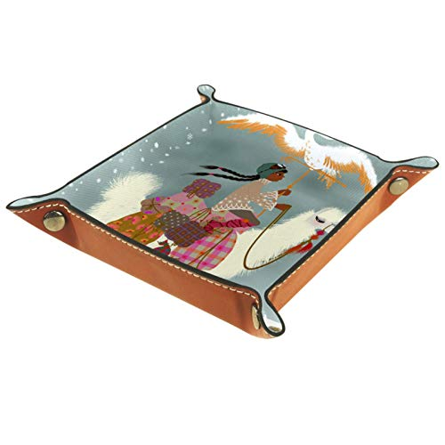 Bandeja de Valet Cuero para Hombres - Alpaca Chica Phoenix Snow Cielo - Caja de Almacenamiento Escritorio o Aparador Organizador,Captura para Llaves,Teléfono,Billetera,Moneda
