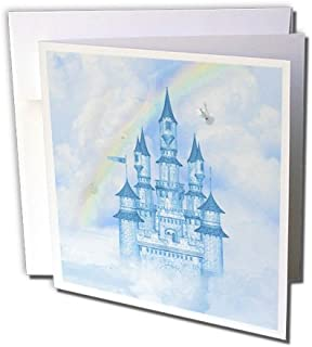 3dRose Greeting Cards, 6 x 6 Inches, Pack of 12, A Blue Fairytale Castle in the Clouds (gc_200956_2)