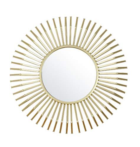 HongTeng Goldenes Licht Spiegel Home Hintergrund Wand Kosmetikspiegel Wohnzimmer Schlafzimmer Retro Kreative Stereoskopische Schmiedeeisen Wanddekoration 80 × 80 cm